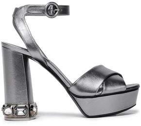 Casadei Crystal-embellished Metallic Leather Platform Sandals