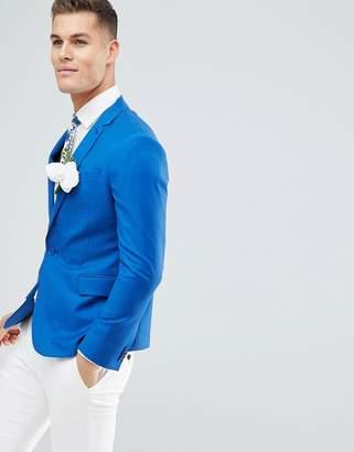 Asos DESIGN Wedding Skinny Blazer In Bright Blue 100% Wool