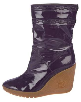 Celine Patent Leather Wedge Boots