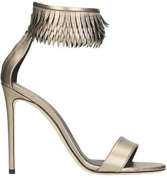 Grey Mer Platinum Laminated Leather Sandals