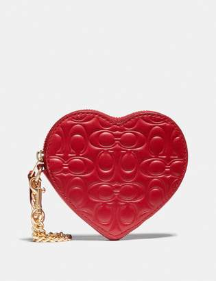 Coach Heart Coin Case In Signature Leather