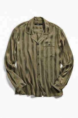 Loom Tonal Stripe Long Sleeve Button-Down Pajama Shirt