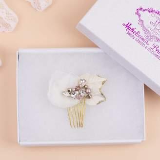 Mabelicious Bridal Bridal Hair Comb New 'Rose Petals' Luxury Handbeaded