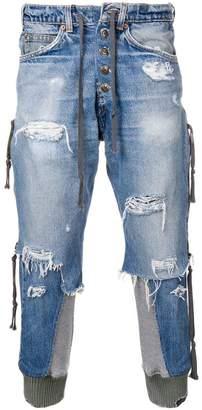 Greg Lauren cropped destroyed jeans