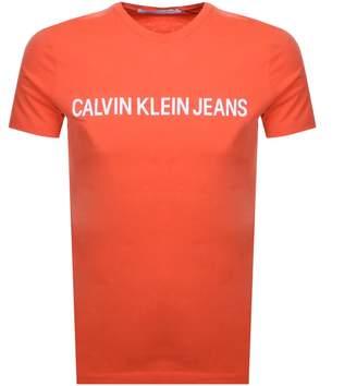 Calvin Klein Jeans Institutional T Shirt Orange