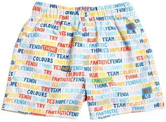 Fendi Wording Printed Nylon Swim Shorts