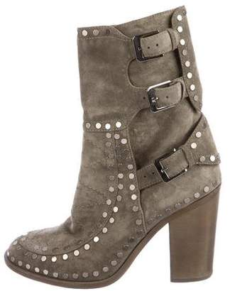 Laurence Dacade Suede Studded Mid-Calf Boots