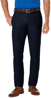 Haggar Men's Cool 18 PRO Slim-Fit Wrinkle-Free Flat-Front Premium Flex Waist Pants