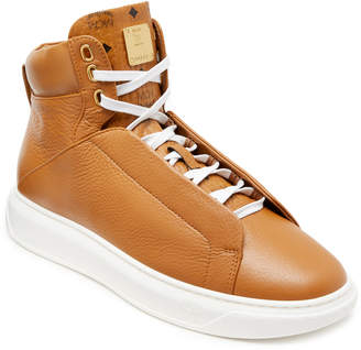 MCM Men's High Top Leather Sneakers With Visetos Trim