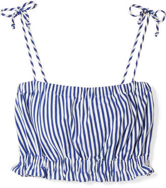 MDS Stripes Taylor Cropped Striped Cotton-jersey Top