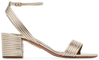 Aquazzura metallic Sundance 50 ribbed leather sandals