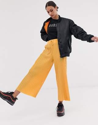 Bershka wide leg drawstring pants in orange