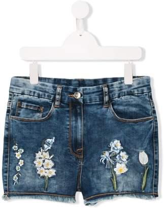 MonnaLisa TEEN floral embroidery denim shorts