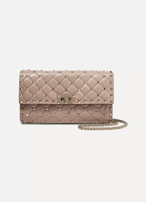 Valentino Garavani The Rockstud Spike Quilted Leather Shoulder Bag - Blush