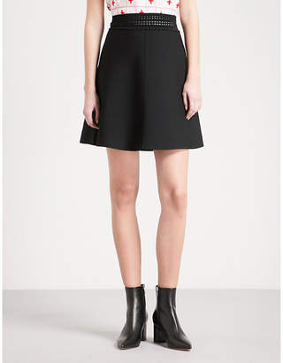 Sandro Pointelle-trimmed knitted mini skirt