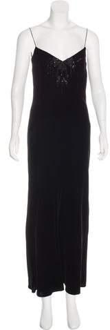 Ralph Lauren Embellished Velvet Dress