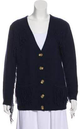 Minnie Rose Cashmere Fringe-Accented Cardigan