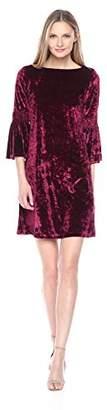Julian Taylor Women's Long Rouched Sleeve Velvet Dress