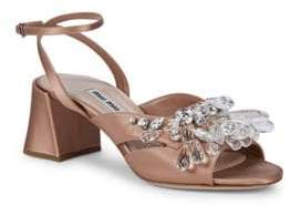 Miu Miu Crystal-Embellished Ankle-Strap Sandals