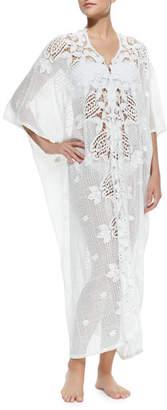 Miguelina Rachel Long Crochet-Panel Caftan, White