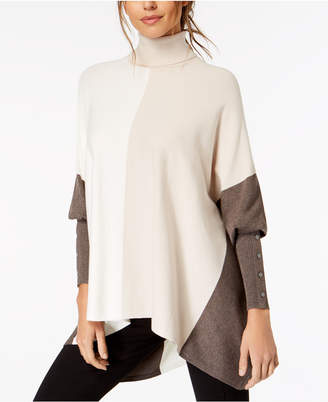 Alfani Petite Turtleneck Colorblock Poncho Sweater