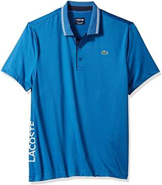 Lacoste Men's Short Sleeve Jersey with Jacquard Collar & Contrast Piping Polo