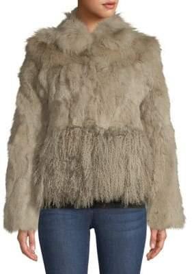 Adrienne Landau Cropped Dyed Fox Fur, Dyed Rabbit Fur & Dyed Lamb Fur Jacket