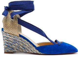 Christian Louboutin Noemia 70 Suede Espadrille Wedges - Womens - Blue