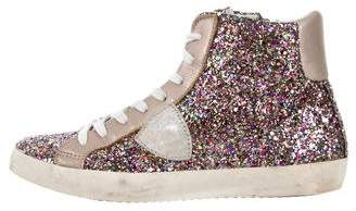 Philippe Model Distressed Glitter Sneakers