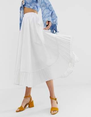 GHOSPELL midi skirt with pleated hem