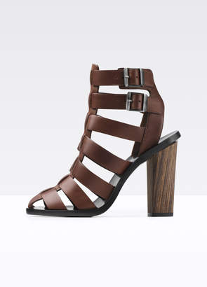Nicolette Caged Leather Heeled Sandal