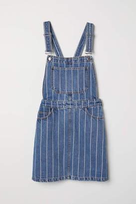 H&M Denim Bib Overall Dress - Denim blue/striped - Women