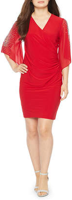 MSK 3/4 Sleeve Beaded Sheath Dress