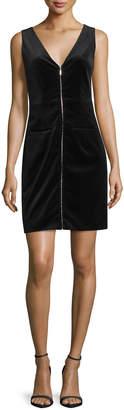 Frame Velvet Front-Zip Plunge-Back Dress, Noir