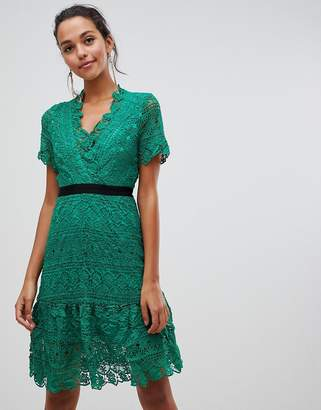 Liquorish lace dress with contrast waistband