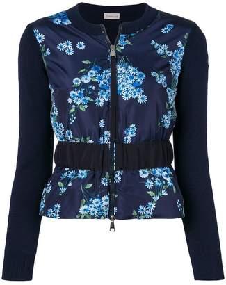 Moncler contrast panel floral jacket