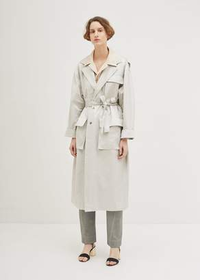 Nehera Satine Cotton Gabardine Trench Coat Light Grey