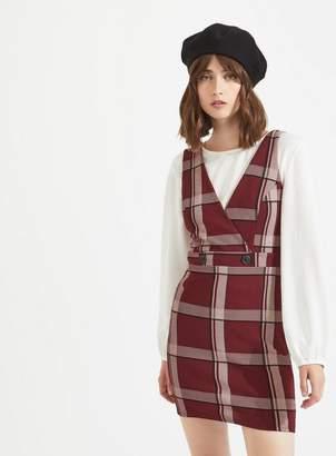 Miss Selfridge Burgundy checked v-neck pinafore dress
