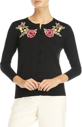 August Silk Floral Embroidered Cardigan