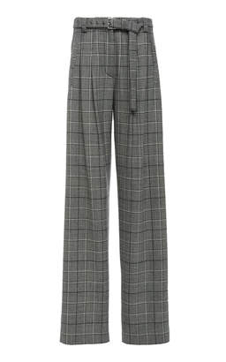 Proenza Schouler Plaid Wide-Leg Wool-Blend Pants