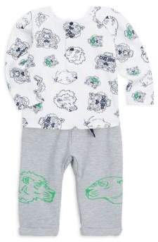 Buy Baby's Two-Piece Tiger Face Cotton Tee and Sweatpants!