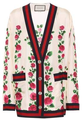 Gucci Rose Garden printed silk cardigan