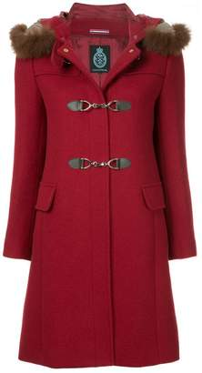 GUILD PRIME fur collar double breasted coat
