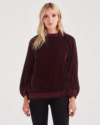 7 For All Mankind Velvet Pullover Sweater in Dark Bordeaux