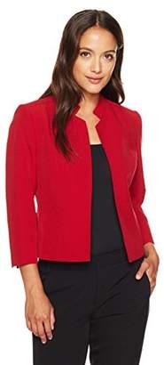 Kasper Women's Petite Size Stretch Crepe Solid Mandarin Collar Jacket