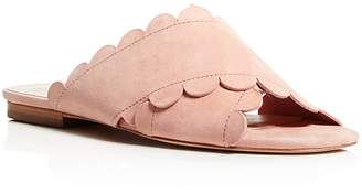 Isa Tapia Ana Maria Suede Scalloped Slide Sandals $295 thestylecure.com