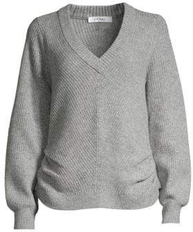 Frame Cinched Rib-Knit V-Neck Wool& Cashmere Sweater