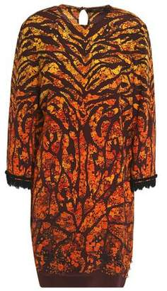 Roberto Cavalli Lace-Trimmed Printed Silk Mini Dress