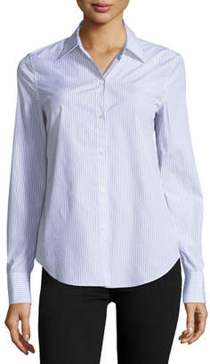 Theory Dalton Striped Perfect-Fit Blouse