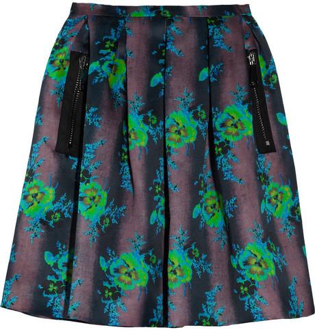 Christopher Kane Floral-print silk-organza skirt